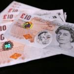 sample Polymer ten pound British banknote, top